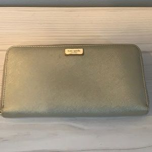Kate Spade Gold Saffiano Leather Wallet